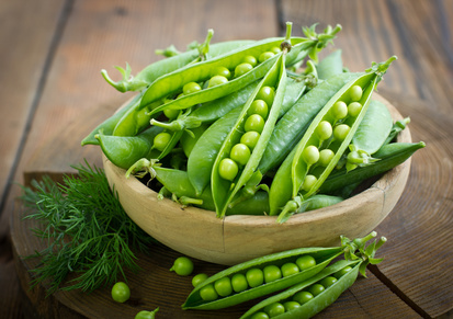 Fresh peas in the bowl