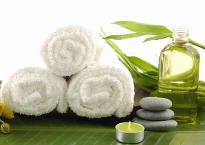 Image of spa therapy, on banana leaf background